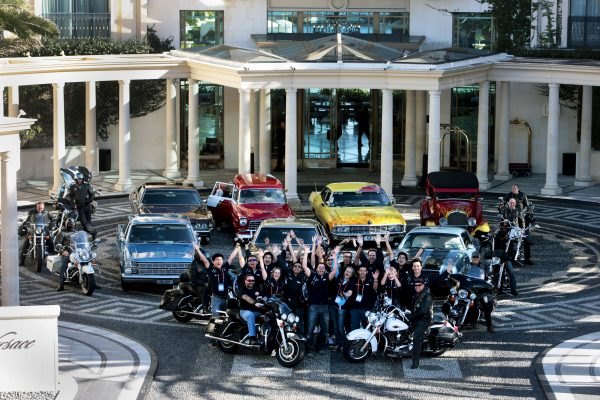 The group of finalists on the second day of the the Million Dollar Memo pose outside Palazzo Versace With a group of Harley and Hotrod Drivers on the Gold Coast. August 25 2011.  Photo: Eddie Safarik